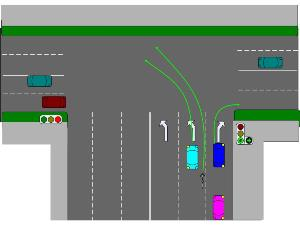 Правила разворота на Т-образном перекрестке